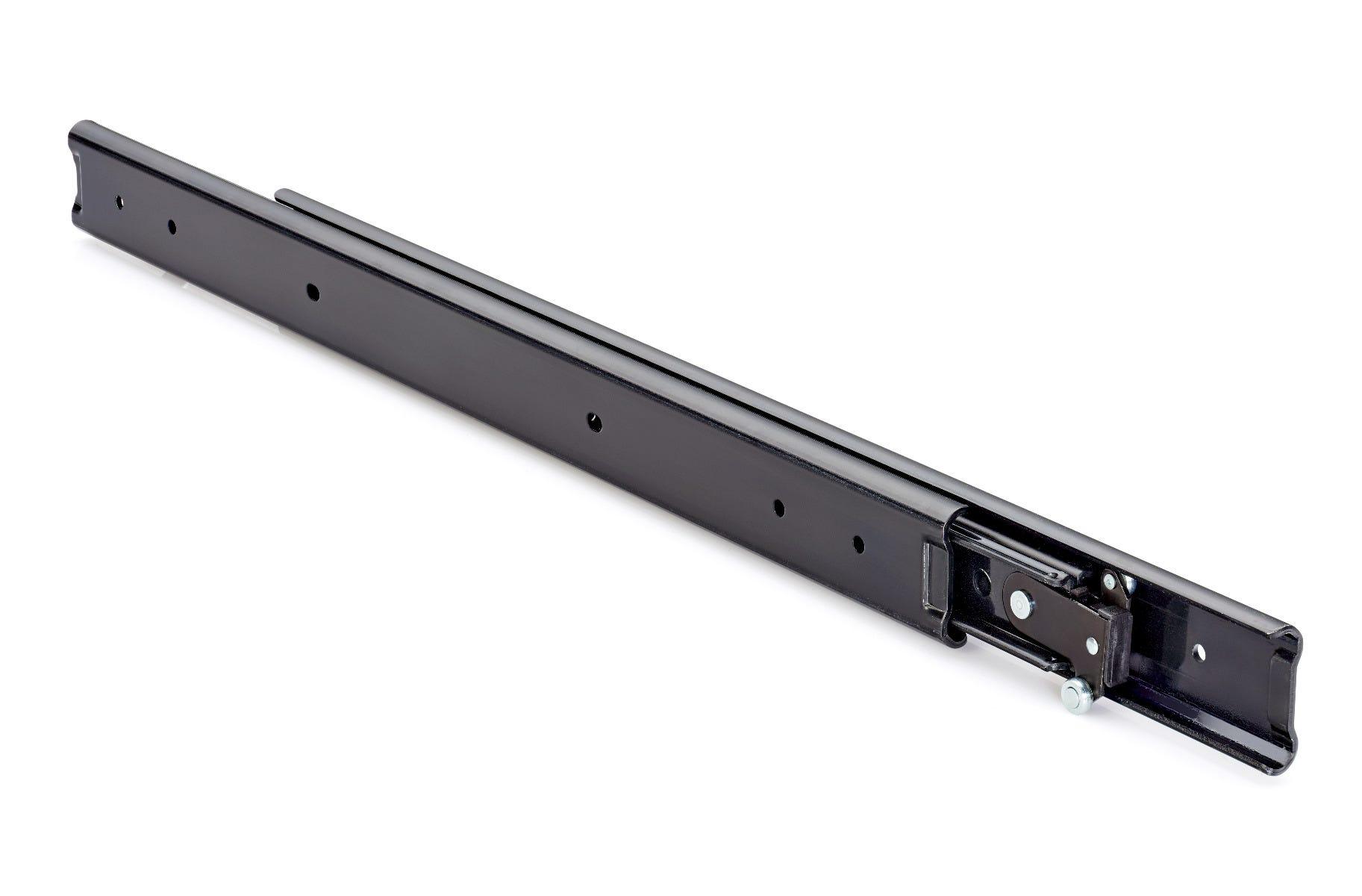 Guía de cajón de extensión completa y recorrido de doble dirección en negro DB3630