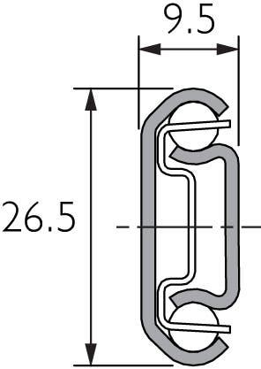 Teilauszug-Teleskopschiene aus Edelstahl, DS2728